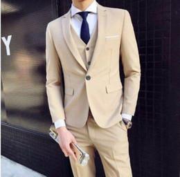 Vestido de dos piezas de los hombres online-Juego del hombre de negocios formal Ocio Slim Fit vestido del chaleco de tres piezas traje de boda de dos piezas novio Set S-6XL