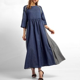 women denim maxi dress Coupons - Fashion-Vintage striped denim women maxi dress Three quarter sleeve loose blue long dresses Casual female spring solid vestidos