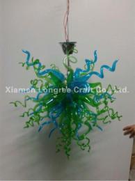 2019 maßgeschneiderte led-leuchten Nach Maß mundgeblasener Glaskunst-Leuchter Moderner Kristallgrüner Muranoglas-LED-Lichtquelle-hängender Kettenkleiner preiswerter Leuchter rabatt maßgeschneiderte led-leuchten