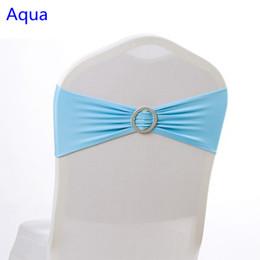 Sash aqua on-line-Cor do Aqua na cadeira de venda faixa com fivelas Rodada para capas de cadeira spandex faixa lycra sash bow tie decoração do casamento