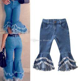 mädchen hosen schneiden Rabatt Kinder Flare Hose INS Boot Cut Baby Mädchen Denim Hose Kinder Quasten Jeans Mode Boutique Designer Kleidung C6476