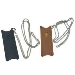 Lanyard stifte online-Caliburn Case Sleeve Leder Cover Protector schwarz braun 2 Farben mit Metall Lanyard Chain Vape Stift Fällen DHL frei