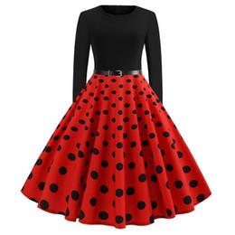 2019 swing nero Nuovo retrò nero rosso scuro blu scuro polka dots abiti casual donna grande altalena autunno primavera maniche lunghe abito vintage con cintura Vestido FS6137 swing nero economici