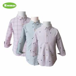 Argentina Venta caliente de primavera 2019, camisa de manga larga de algodón bluepink para niños, con cuadros y estrellas, camisas de niños cómodas Suministro