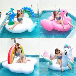 2019 piscine scivolose d'acqua Gonfiabile Flamingo pavone cigno anguria ananas giocattolo acqua gigante letto galleggiante zattera materasso ad aria vacanza estiva swmming ring partito