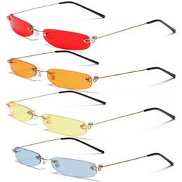Óculos de sol sem retângulo on-line-Pequeno Laranja Sem Aro Retângulo Óculos De Sol Das Mulheres Dos Homens 90 s Designer Minúsculo Estreito Sem Moldura Matiz Óculos de Sol Shades