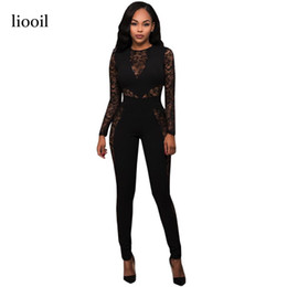22ab6ff342a Liooil Lace Patchwork Jumpsuit Autumn Long Sleeve O Neck Back Zip Bodycon Sexy  See Through Women Rompers Black Slim Overalls