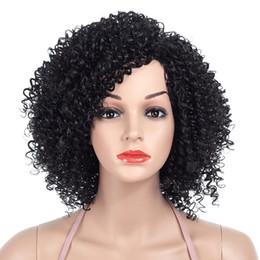 Deutschland Kurze synthetische Perücken Natur schwarz Afro lockige Perücken für Frauen Seitenteil synthetische kurze Haare Perücke volle hitzebeständige Perücke für schöne Frau Versorgung