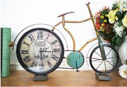 2019 peças de ferro decorativas 1 peça de bicicleta Criativa relógio de parede relógio de parede decorativo / relógio de mesa de relógio de Parede de Ferro Americano / criativo home decor peças de ferro decorativas barato