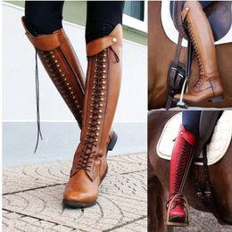 высокие каблуки девочек Скидка AGUTZM мода заклепки кружева молнии ботинки женщин колено высокие сапоги женщин высокие свободного покроя Squeare каблуках панк свободного покроя девушки де mujer