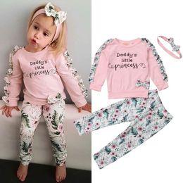 Симпатичные детские повязки онлайн-2018 Autumn Winter Cute Pretty Infant Baby Girls Clothes 3PCS Ruffles Sleeve Letter Floral Pink Pullover Tops+Pants+Headband