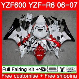 Cuerpo para YAMAHA YZF600 YZFR6 06 07 600 YZF R6 Carrocería 69MC.21 YZFR6 06 07 YZF-R600 YZF R6 2006 2007 blanco carenados kit caliente desde fabricantes