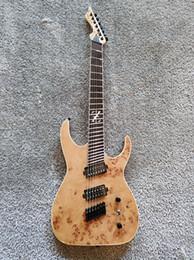 2019 guitare électrique couleur bois Guitare électrique à sept cordes, couleur bois et touche en bois aile de poulet sur mesure guitare électrique couleur bois pas cher