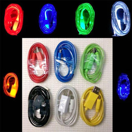2019 cargador de cable de datos 1M Shining Colorful LED Light Luminous Cargador de teléfono Carga de sincronización de datos Cable de cable de línea de transferencia para Android rebajas cargador de cable de datos