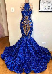 Vestido floral con cuentas halter online-Royal Blue Halter Lace Mermaid Vestidos de fiesta largos 2k19 apliques de abalorios florales 3D acanalada Sweep Train Formal Party vestidos de noche BC1213
