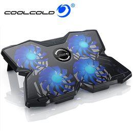 2019 базовый блокнот COOLCOLD 12-17-дюймовый ноутбук охлаждающая подставка 4 вентилятора USB-кулер для ноутбука Подставка для ноутбука LED Base для игр Ежедневное использование дешево базовый блокнот