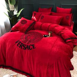 2019 rosa rüsche dessous Nobility Brief Bettbezug Suit 4 Stück Fleece Stoffe Winter-warm haltenversace Bettwäsche European Fashion Style 478