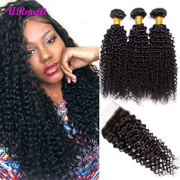 Dhgate cabelo remy on-line-Kinky Curly Virgem Do Cabelo Humano Com Fecho Cru Cabelo Virgem Brasileiro 3 ou 4 Pacotes Com Fecho dhgate 10A grau Remy Do Cabelo Humano