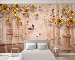 gold wallpaper for bedroom Coupons - 3d room wallpaper custom photo mural Floral Roman Column Fantasy Floral Gold Home Decoration Rose TV Background Wall wallpaper for walls 3 d