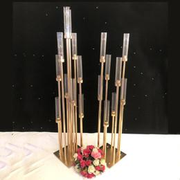 Castiçais de metal Vasos de Flores Castiçais Mesa Do Casamento Centrais Candelabros Pilar Estandes Partido Decoração Estrada Chumbo de