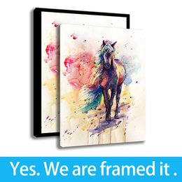 painting horses modern art Coupons - Wall Decor Modern Horse HD Print on Canvas Animal Watercolor Painting Art Framed - Ready To Hang - Support Customization
