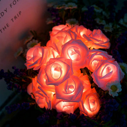 outdoor decorations for birthday party Promo Codes - LED Pink Rose Flower String Lighting Battery Operated for Wedding Home Party Birthday Festival Indoor Outdoor Decorations Large Rose Flower