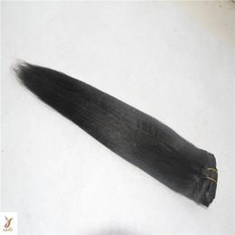 virgin indian straight hair jet black Promotion Jet Black Couleur 1 / pcs / 100g Indien Vierge Cheveux Raides Bundles 10-30 Pouces Indien Remy Cheveux Weave Bundles 100% de Cheveux Humains Tissage