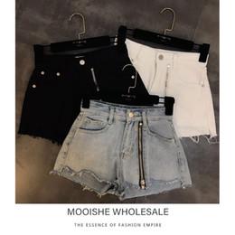 Annata corta del denim della vita online-Taglio Hems Zipper Front Denim Shorts Donna vita alta Vintage nero bianco blu jeans corti Y190429