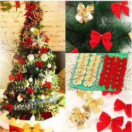 Decorazioni di arco dell'albero di natale online-Pretty Bow Xmas Ornament Christmas Tree Decoration Festival Party Home Bowknots Baubles Baubles Capodanno Decorazione 12pcs / Lot