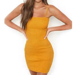 vestidos amarillos sólidos Rebajas Sling mujeres mini vestidos sin mangas 2019 sexy bodycon dress sólido sin tirantes amarillo beach dress vestidos de verano #BF