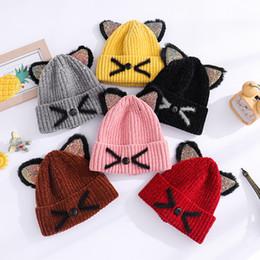 Cappello del bordo online-Cappelli a maglia per orecchie di gatto Cappelli per bambini in lana di gatto Cappellino invernale caldo Berretto per bambini Cappelli per esterno Cappellino in lana lavorato a maglia GGA2410
