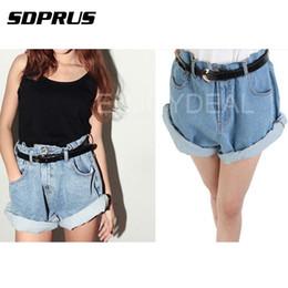384be5d6dfb2 roll up shorts Canada - Women Denim Shorts Pants High Waist Roll Up Cuffs  Denim Hot