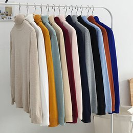 spring fashion colours Coupons - 2019 spring Sweater Men Casual fashion men's Turtleneck Sweaters high quality Warm knitting Shirt Wool Pullover men 12 colours