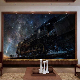 kids fairy tale wallpaper Promo Codes - custom size 3d photo wallpaper living room mural train