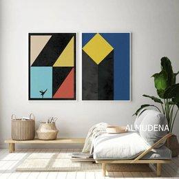 Pôsteres dança on-line-Cópias geométricas Cartaz Colorido Abstrato Da Lona Pintura Street Dance Home Arte Da Parede Decorativa Retratos Da Parede para Sala de estar