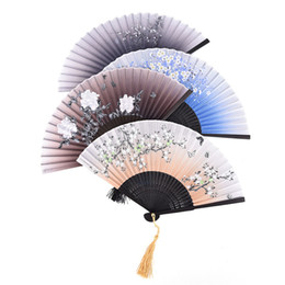 Borboleta fã on-line-Seda chinesa Grande Bolso Dobrável 5 Estilos Fã Mão Borboleta Flor Impresso Favores do partido decoração do presente