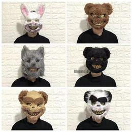 2020 trajes sangrientos Scary Halloween Rabbit Bunny Mask para Hombres Niños Bloody Creepy Animal Head Mask Spooky Plush Rabbit Mask Disfraz de Pascua Bloody Pink Cospaly trajes sangrientos baratos