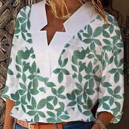 manga larga Sconti top e camicette da donna 2019 Foglie Stampa Maglie a manica lunga Camicetta donna abbigliamento Casual camicetta ufficio blusa mujer manga larga