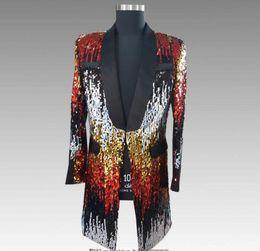 roupas masculinas estilo rock Desconto Blazer homens ternos projetos camuflagem lantejoulas jaqueta mens cantores de palco roupas dance star estilo vestido de punk rock masculino homme