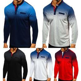 maglia muscolare Sconti 2019 camice dei nuovi uomini dimagriscono maniche lunghe Golf maglietta casuale Jersey supera muscolo di trasporto Tee Polo libero