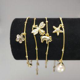 Configuraciones de oro 14k online-Ajustes de pulsera de perlas de bricolaje Pulseras rellenas de oro de 14K para ajustes de mujeres Pulsera de montaje Joyas de moda en blanco Regalos de Navidad DIY Regalos Pr