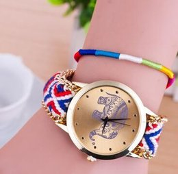 elephant wrist watches Coupons - Elephant printing women fashion watches ladies wool weaving quartz dress bracelets watches wrist watch for women ladies