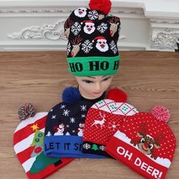häkelhut rentier Rabatt Weihnachten LED-Licht Strickmütze Xmas Reindeer Elk Beanie Cap Pom Poms häkeln Hut Weihnachtsmann Schneemann Caps Schädel Festivals Luminous Knit Ha