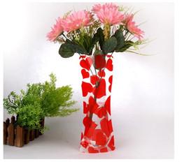 il giardinaggio coltiva il sacchetto all'ingrosso Sconti Vaso pieghevole in PVC da 12 cm * 27 cm Pieghevole pieghevole in plastica riutilizzabile Vaso di fiori pieghevole Vaso in PVC magico Colore della miscela Decorazioni per la festa nuziale