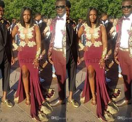 Burgundy Sexy Русалка Пром платья Глубокий V шеи с длинными рукавами Золото аппликация складками вечернее платье вечерние платья Vestidos De Noiva ogstuff от