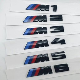 Adesivo nera cromata online-Sticker Logo 3D Glossy Black M1 M2 M3 M4 M5 X3M Chrome Emblem Car Styling Fender Trunk Badge per BMW E46 E90 Accessori auto