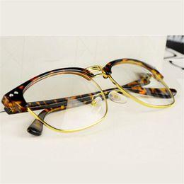 c807bf0fc053 Leopard Fashion metal Glasses square Frame Retro Women Clear Lens  Eyeglasses Anti-radiation computer eyewear mens Glasses glass discount metal  anti ...