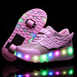 Niño rodillo online-Heelies Zapatillas de deporte ligeras con dos ruedas dobles Boy Girl Skate Skate Calzado informal con Roller Girl Zapatillas Zapatos Con Ruedas