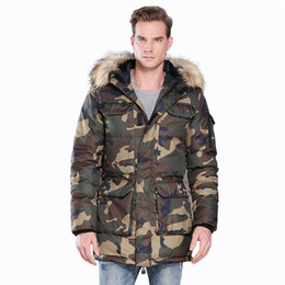 2021 hilo de polietileno Winter Velcro Closure Full Zip Multi Pockets Camouflage Print Threaded Cuff Long Sleeves Faux Fur Hooded Men Long Poly Cotton Padded Jacket