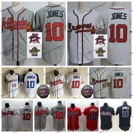 Patchs mondiaux en Ligne-Vintage 2018 Temple de la renommée Atlanta 10 Chipper Jones Braves Maillots de Baseball Hommes Blanc 1995 World Series Jones Chemises Surpiquées 30e Patch